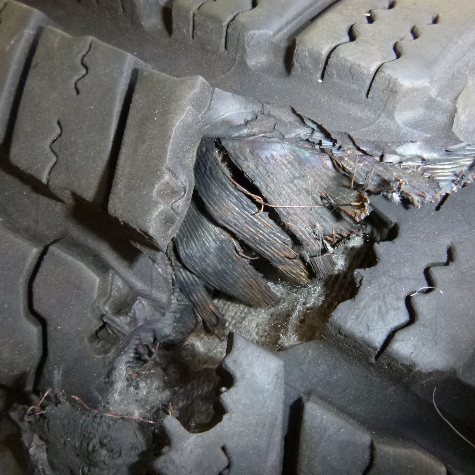 Inspecting failed automobile tire